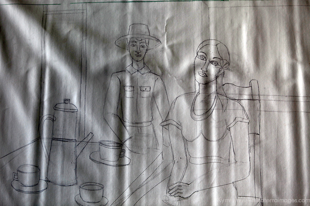 Central America, Cuba, Caibarien. A sketch by Cuban Artist Octavio Carvajal Barroso in Caibarien at the studio workshop of Mayelin Perez Noa.