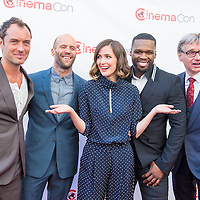 LAS VEGAS - APR 23 : (L-R) Jude Law, Jason Statham, Rose Byrne, Curtis '50 Cent' Jackson and Paul Feig attends the 2015 CinemaCon 20th Century Fox Presentation on April 23 2015 in Las Vegas NV