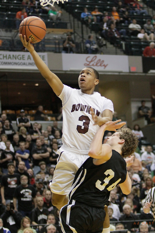 27 March 2010: Bowman Academy's Tyrae Robinson as the Barr-Reeve Vikings played the Bowman Academy Eagles in the IHSAA Boys Basketball State Championship game in Indianapolis.