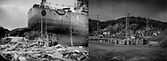 (L): An ocean going ship sits where it came to rest in debris in the immediate aftermath of the great 25m high (82 ft.) tsunami that hit Kesennuma, Miyagi Prefecture on 11 March 2011, following the massive earthquake that struck under the sea off of Japan. <br /> <br /> (R): Five years later, the same spot has been completely modified, roads moved, earth raised and prepared of redevelopment.  The only indicator that this was the same spot, in 2016, where the ship came to rest are the house in the middle of the frame and the hills behind it.  Kesennuma, Miyagi Prefecture, Japan
