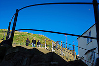 Tourists negotiating the 199 steps to Whitby Abbey