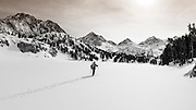 Backcountry skier, John Muir Wilderness, Sierra Nevada Mountains, California