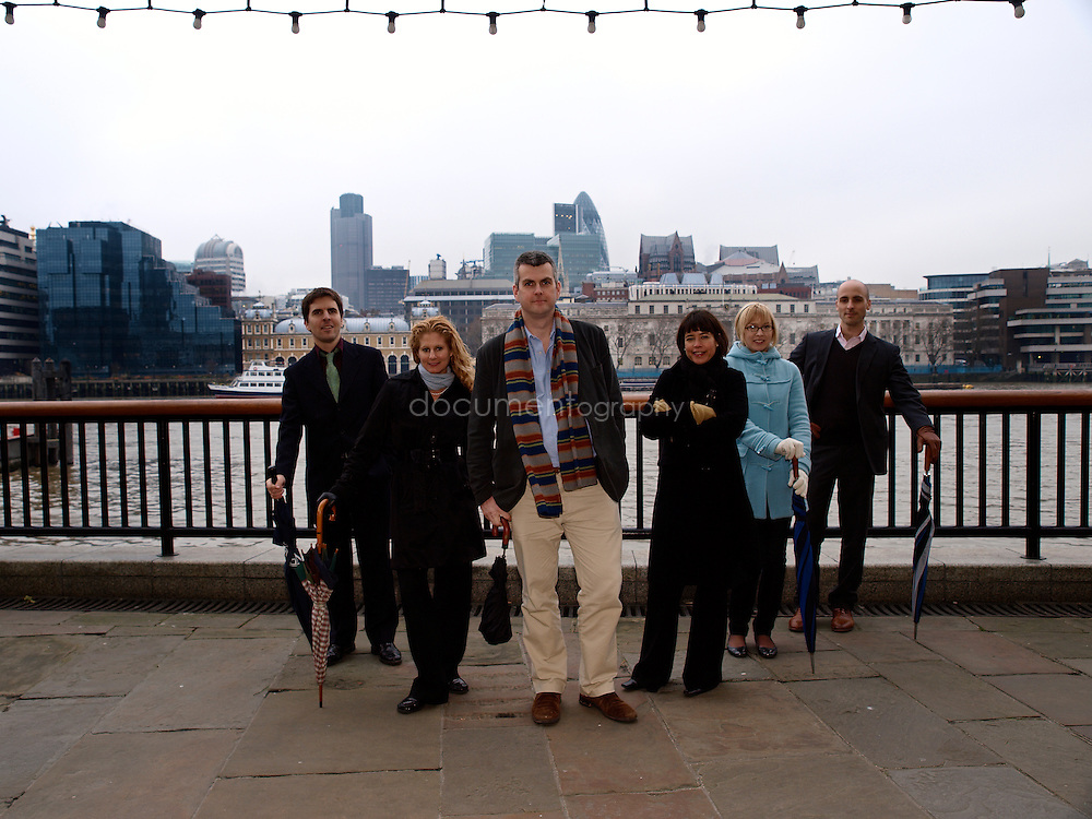 Martin Brookes (centre), Chief Executive of New Philanthropic Capital with Head of Communication and Marketing - Sue Wixley, Analysts - Eleanor Stringer and Gustave Lofgren (right) and on the left Senior Consultant - Liz Sklaroff and Senior Analyst - Simon Blake, London Bridge, London, UK..