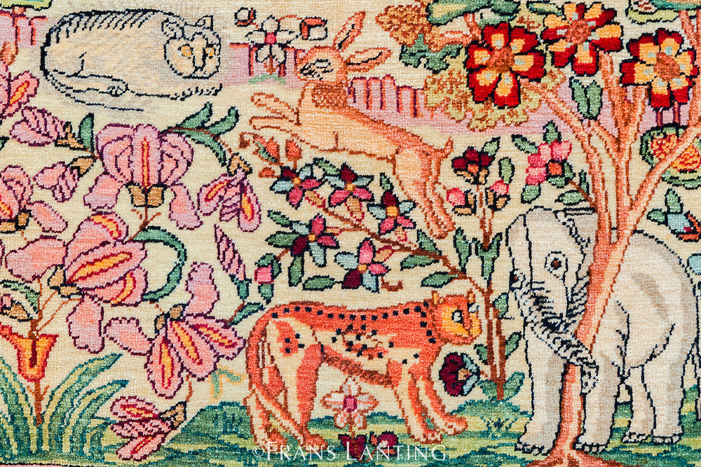 Detail from carpet portraying animals native to Iran including: tigers and elephants National Carpet Museum, Tehran, Iran