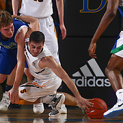 Sanford Warriors Forward CONNOR RUFO (1) attempts to dive for the loose ball in the first half of a Boys Basketball DIAA State Tournament Finals match between the Sanford Warriors and the St. Georges Hawks Saturday, Mar. 12, 2016, at The Bob Carpenter Sports Convocation Center in Newark, DEL.