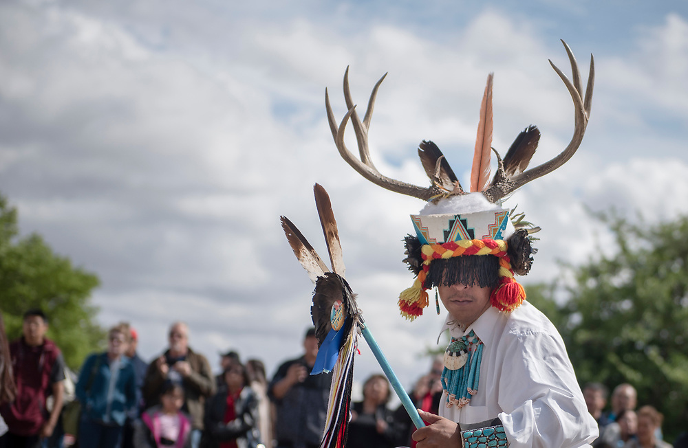 rer042917d/metro/April 29, 2017/Albuquerque Journal<br />  Ray Dean Johnson(Cq) of Zuni Pueblo performs the deer dance Gathering of Nations which was held for the first time at the Expo New Mexico. <br /> Roberto E. Rosales/Albuquerque Journal photo by Roberto E. Rosales