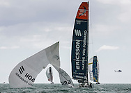 Ericsson's spinnaker rips down the middle during an in-port race. Part of the Volvo Ocean Race.
