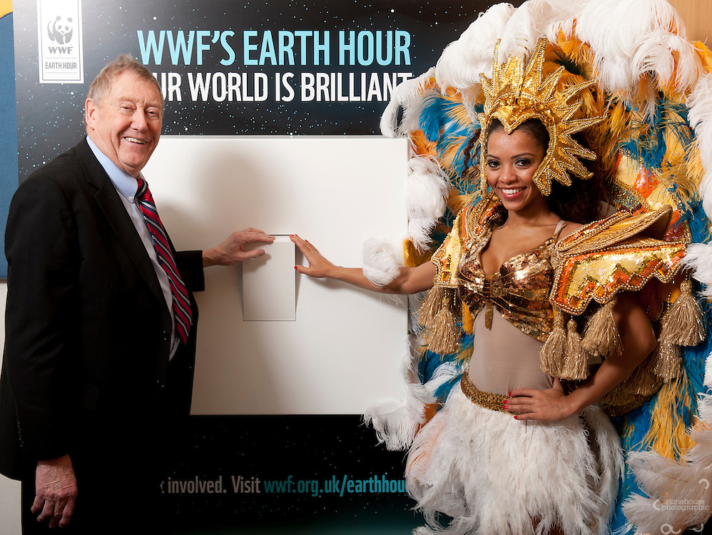 Tuesday 6 March 2012 ..Austin Mitchell  MP switches off for WWF's Earth Hour to call for a strong outcome at Rio environmental talks. ..Portcullis House, Houses of Parliament, Westminster.