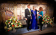 29-4-2014 - AMSTERDAM - King Willem-Alexander and Maxima Queen at Madame Tussauds. Fashion designer Jan Taminiau has a replica of the famous blue dress that made the Queen wore during the change of rule in 2013. Exactly one year after the Throne Changing exhibits wax museums images of the royal couple. COPYRIGHT ROBIN UTRECHT