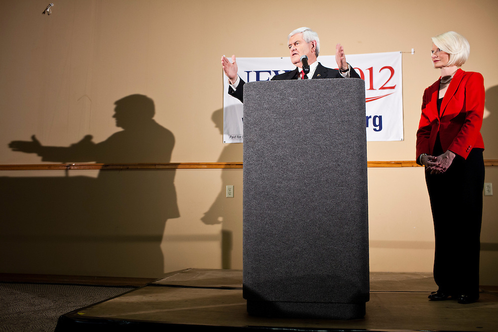 Republican presidential candidate Newt Gingrich, joined by his wife Callista Gingrich, hosts a meet and greet at Swamp Fox Restaurant on Tuesday, December 20, 2011 in Knoxville, IA.