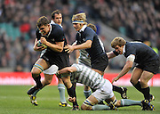 Twickenham, GREAT BRITAIN,   Oxfords' Will ROWLANDS, bursting through the Cambridge defence, in a surge that leading to Oxford's second try, during the 2012 Varsity Rugby match.  Oxford vs Cambridge, at the RFU Stadium, Twickenham, Surrey. on Thursday  06/12/2012..[Mandatory Credit; Peter Spurrier/Intersport-images]