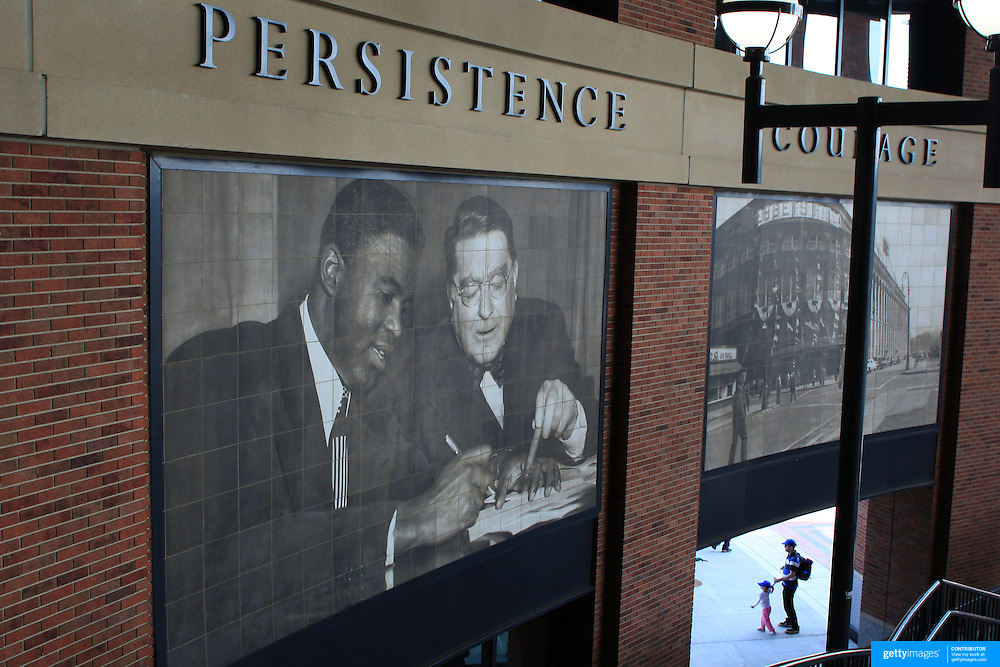 The front entrance of Citi Field features a rotunda named after Brooklyn Dodgers legend Jackie Robinson and honors his life and accomplishments during the New York Mets V San Francisco Giants Baseball game at Citi Field, Queens, New York. 21st April 2012. Photo Tim Clayton