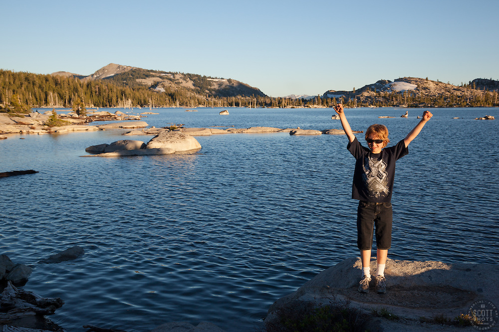 """Boy at Lake Aloha"" - This boy was photographed at Lake Aloha in the Tahoe Desolation Wilderness."