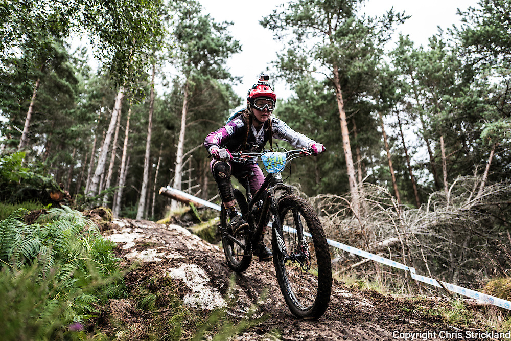 Laggan Wolftrax, Laggan, Cairngorms, Scotland, UK. 13/14th August 2016. Mountain bikers compete in the Scottish Enduro Series at the Laggan Wolftrax trails in the stunning scenery of the Cairngorms National Park in Scotland.