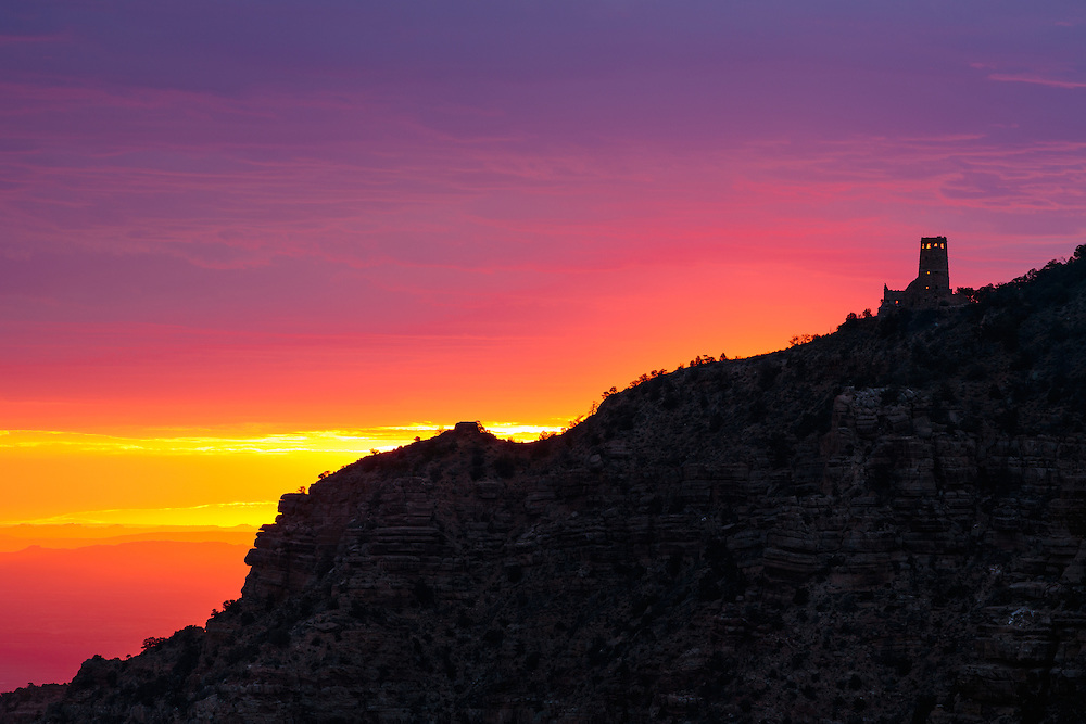 Sunrise at the Desert View Watchtower in Grand Canyon National Park.