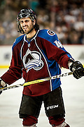 SHOT 2/25/17 9:25:02 PM - The Colorado Avalanche's Mark Barberio #45 during a break in the action in their NHL regular season game against the Buffalo Sabres at the Pepsi Center in Denver, Co. The Avalanche won the game 5-3. (Photo by Marc Piscotty / © 2017)
