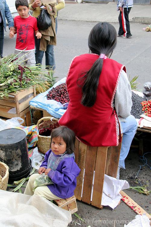South America, Ecuador, Calderon. Street market scene in Calderon, a small Andean town outside of Quito.