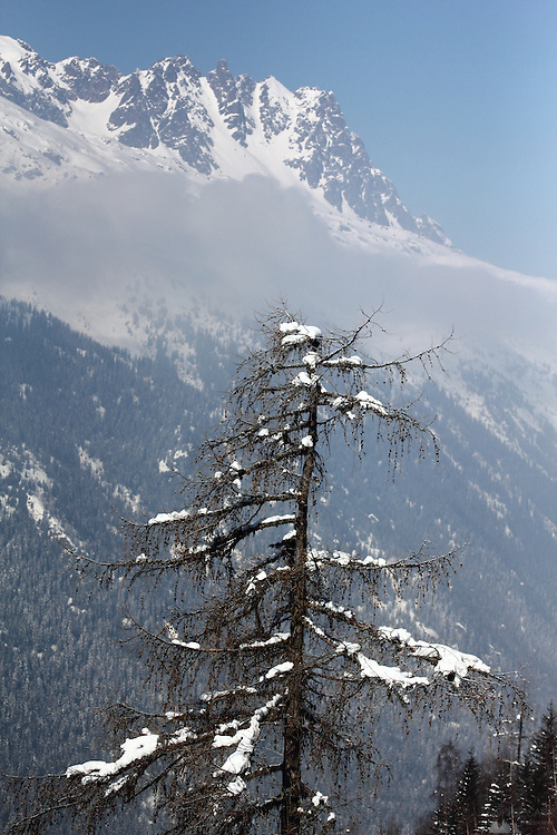 View from the Montenvers Train near Chamonix, in the French Alps