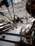 1/7/2011.no charge for repro.Kelly Stroud from Sail Training International pictured climbing the rigging on the class A Norwegian Christian Radich at the Tall Ships Races in Waterford yesterday..Picture Dylan Vaughan