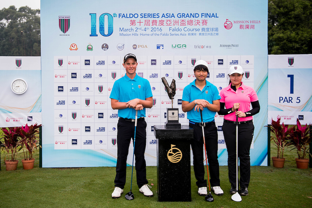 Jordan Garner of Australia, Inez Beatrice Wanamarta of Indonesia, Hosho Takahashi of Japan in action during day three of the 10th Faldo Series Asia Grand Final at Faldo course on 04 March of 2016 in Shenzhen, China. Photo by Xaume Olleros.