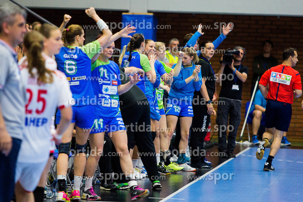 Slovenian team celebrating during handball match between Women national teams of Slovenia and Croatia in Round #5 of Qualifications for Women's EHF EURO 2016 Championship in Sweden, on June 1, 2016 in Arena Golovec, Celje, Slovenia. Photo by Ziga Zupan / Sportida