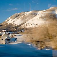 Driving by McPolin barn in winter.