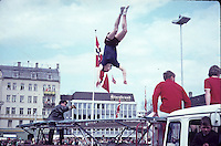 Acrobatics on a trampoline mounted on a lorry