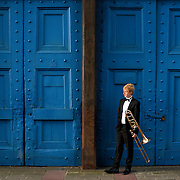 Portrait of Mike Buchanan. Trombonist with Scottish Opera and winner of the 2015 ARD Music competition.