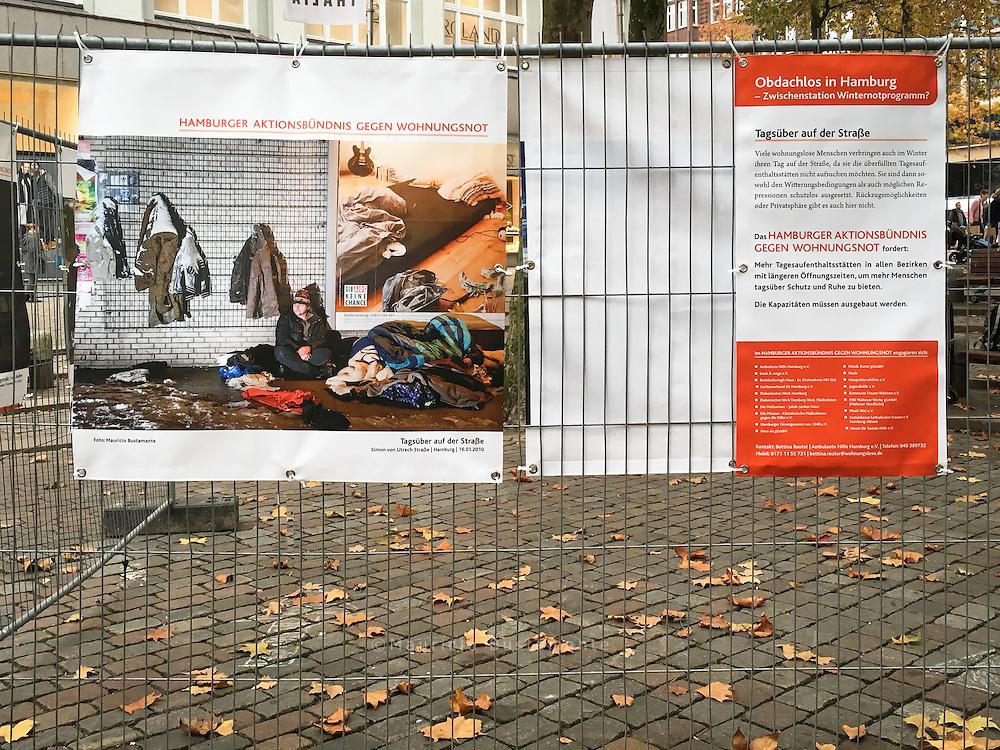 Fotoausstellung des Hamburger Aktionsb&uuml;ndnisses gegen Wohnungsnot:<br /> <br /> &bdquo;Obdachlos in Hamburg - Zwischenstation Winternotprogramm? &ldquo;