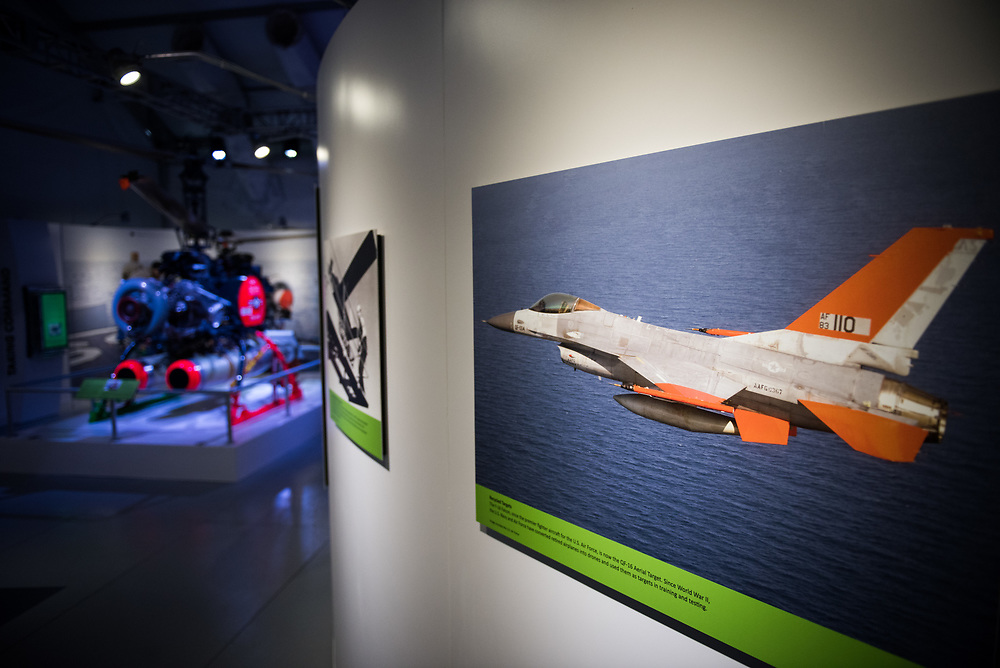 """30206010A - DRONES - A Boeing QF-16, converted from an F-16 fighter jet, is seen in a picture at the """"Drones: Is the Sky the Limit?"""" exhibit at the Intrepid Sea, Air, and Space Museum in New York, NY on May 9, 2017."""