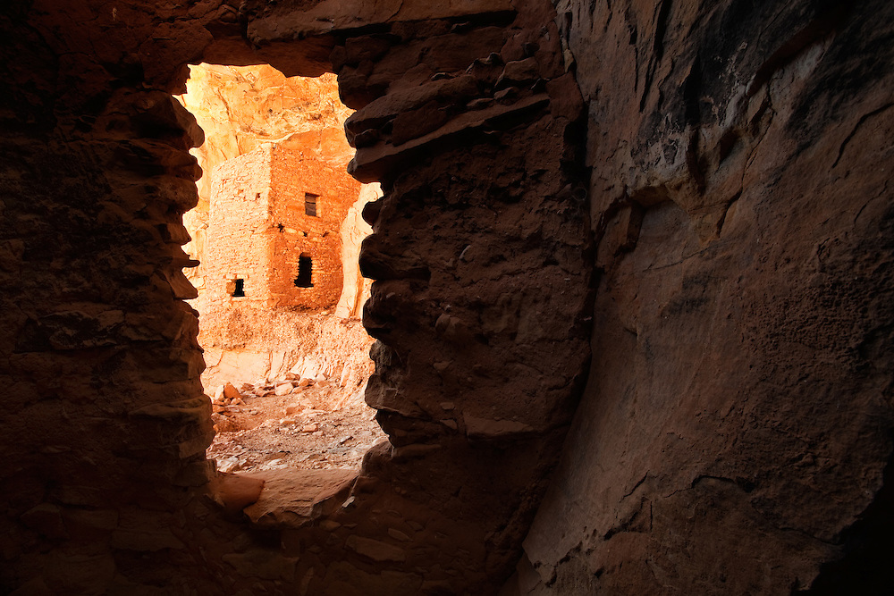 An Ancestral Puebloan (Anasazi) tower in southern Utah viewed through a doorway.