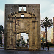 South America, Uruguay, Montevideo. OLd city gate stands guard for four centuties.