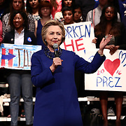 Democratic Presidential Candidate HILLARY CLINTON speaks to supporters one day before Delaware's Tuesday primary's Monday April. 26, 2016, at World Café Live at the Queen in Wilmington Delaware.