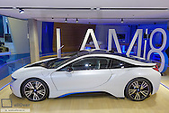 Moderner Luxus Sportwagen mit Plug-in-Hybridsystem, BMW i8, Modern luxury sports car with plug-in hybrid system, Alternatively, Alternative, Exhibition, Car, Car Manufacturers, Car Brand, Automotive Industry, Cars, BMW, Hybrid, Engine, Engines, Technology, I8, Indoors, Concept Car, Motor Vehicle, Motor Vehicles, Plug, In, Plug-In, Environmental Eco-Friendly, Protection, Modern, Contemporary, Luxury, Expensive, BMW Welt, World, Welt, Munich, Bavaria, Bavarian, Germany