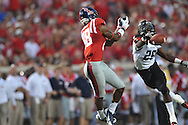 Southeast Missouri State's Tim Hamm-Bey knocks the ball away from Mississippi wide receiver Cody Core (88) at Vaught-Hemingway Stadium in Oxford, Miss. on Saturday, September 7, 2013. Ole Miss won 31-13.