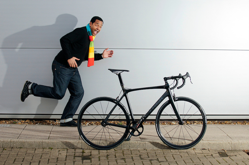 BBC football pundit Mark Bright collecting his new Trek singlespeed Madone at Trek UK HQ. 17.2.10