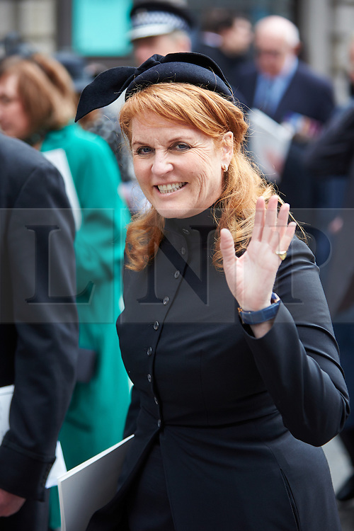 © Licensed to London News Pictures.  17/04/2013. LONDON, UK. Sarah Ferguson (pictured), Duchess of York, leaves St Paul's Cathedral after the funeral of former Prime Minster Margaret Thatcher. Photo credit: Cliff Hide/LNP