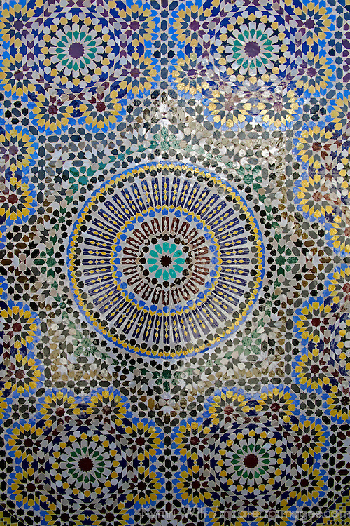 Africa, Morocco, Fes. Mosaic wall for fountain.