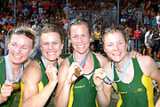 Ottensheim, AUSTRIA.  A  Final,  LM4X, Medals AUS  Bow, Ingrid FENGER, Bronwyn WATSON, Miranda BENNETT and Alice McNAMARA,  Gold Medallist, at the 2008 FISA Senior and Junior Rowing Championships,  Linz/Ottensheim. Sunday,  27/07/2008.  [Mandatory Credit: Peter SPURRIER, Intersport Images] Rowing Course: Linz/ Ottensheim, Austria