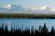 Alaska. Looking across Willow Lake, near Willow Creek, Richardson Highway, at Mt Drum and Mt Wrangell in Wrangell - St Elias Range.