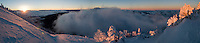 Inversion in Jackson Hole (left), as viewed from near the summit of Mount Glory. Four frames, 180 degrees, looking south.