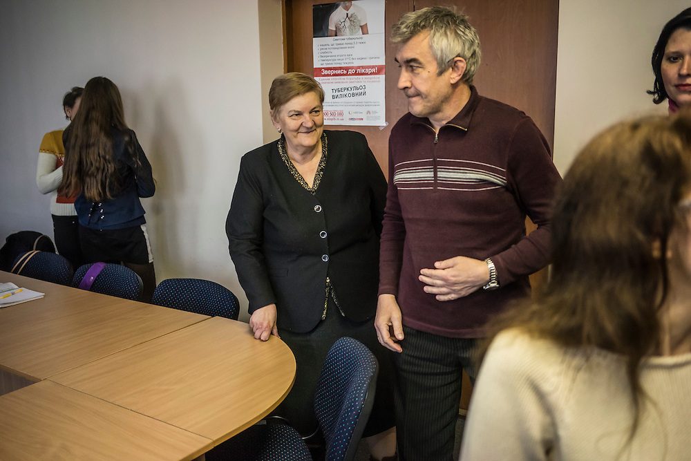 Ewa Holodkova, 67, third from left, from the town of Stakhanov in Lugansk oblast, teaches a Polish language class to students of whom many are IDPs from eastern Ukraine on Tuesday, April 28, 2015 in Lviv, Ukraine. Despite being a Polish citizen and she and her husband having the legal right to live in Poland, where they have a daughter, their Ukrainian pensions are too small to afford life in Poland. CREDIT: Brendan Hoffman/Prime for the Wall Street Journal UKRMIGRATION CREDIT: Brendan Hoffman/Prime for the Wall Street Journal UKRMIGRATION