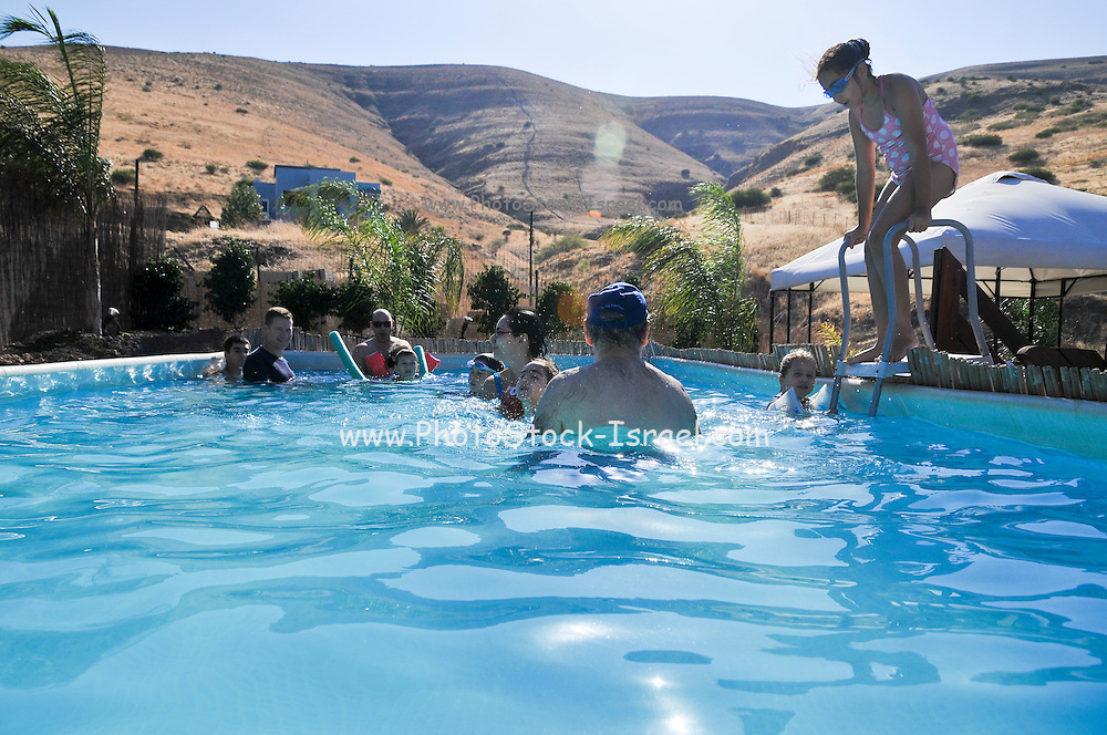 Swimming Pool in arid land. Photographed in Israel