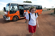 10 year old James Reilly and 12 year old Pippa Reilly returning home from school in Wyalkatchem, Western Australian Wheatbelt. 10 December 2012 - Photograph by David Dare Parker