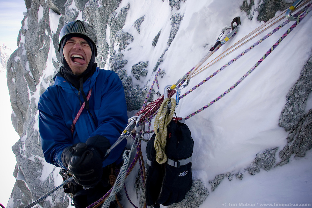 Colin Haley with the screamy-barfies (frozen hands) while climbing the Albonini-Gabaru on Mont Blanc du Tacul, Chamonix France