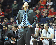 "Mississippi head coach Andy Kennedy reacts vs. Rutgers at the C.M. ""Tad"" Smith Coliseum in Oxford, Miss. on Saturday, December 1, 2012. Mississippi won 80-67. (AP Photo/Oxford Eagle, Bruce Newman).."