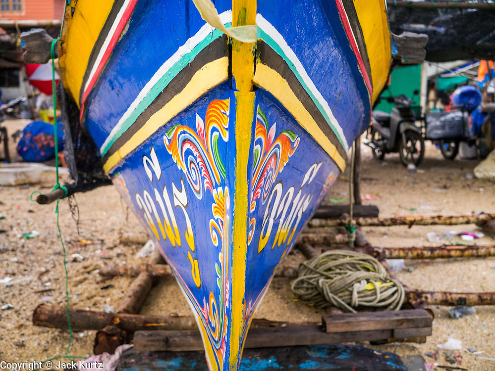 04 NOVEMBER 2012 - KAO SENG, SONGKHLA, THAILAND:  The prow of a fishing boat in Kao Seng. Kao Seng is a traditional Muslim fishing village on the Gulf of Siam near the town of Songkhla, in the province of Songkhla. In general, their boats go about 4AM and come back in about 9AM. Sometimes the small boats are kept in boat because of heavy seas or bad storms.    PHOTO BY JACK KURTZ