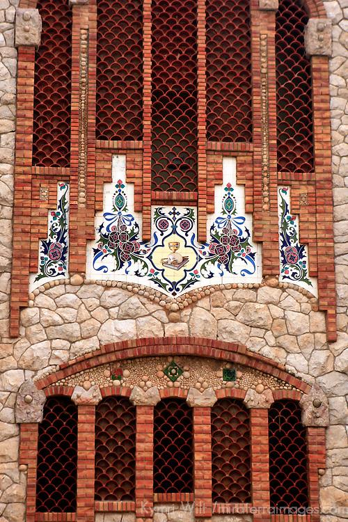 Europe, Spain, Novelda. Tiles of Santa María Magdalena, built by disciple of Gaudi.