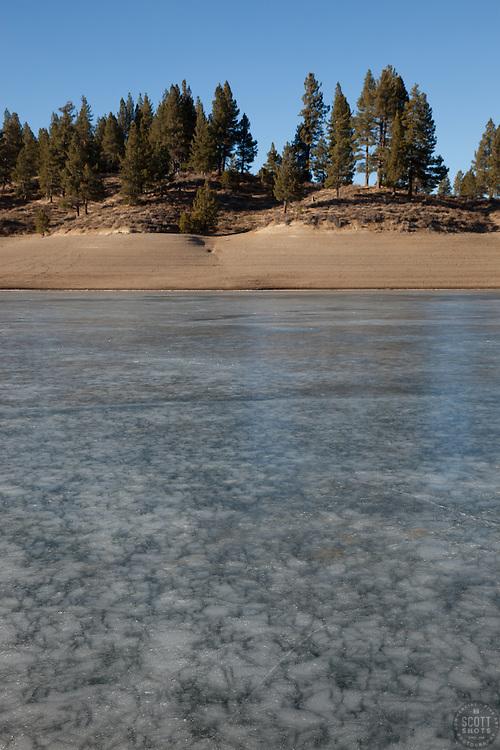 """""""Frozen Prosser Reservoir"""" - Photograph of an icy frozen over Prosser Reservoir, Truckee."""