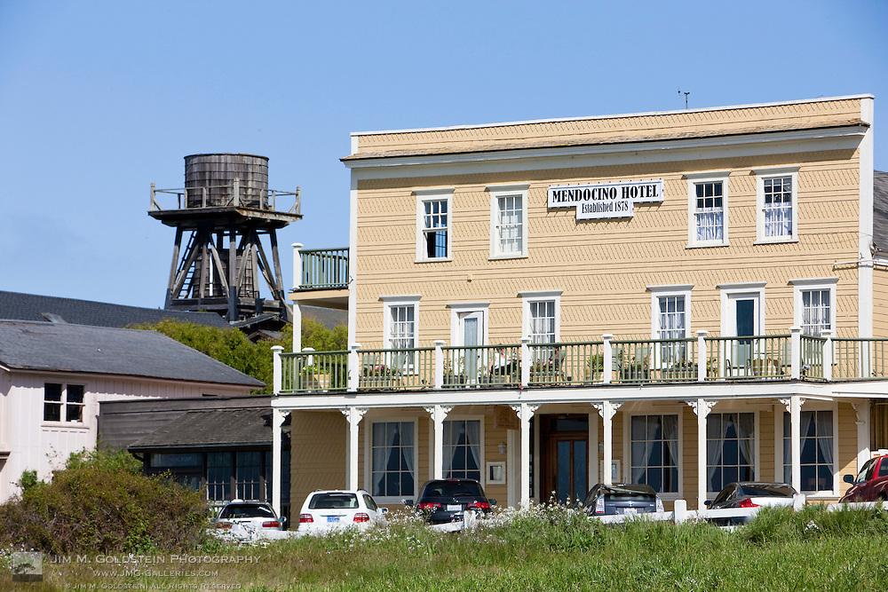 Historic Mendocino Hotel on Main Street in Mendocino, California